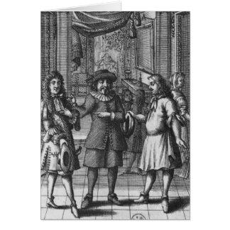 Cartão Moliere como Harpagon, ilustração do frontispiece