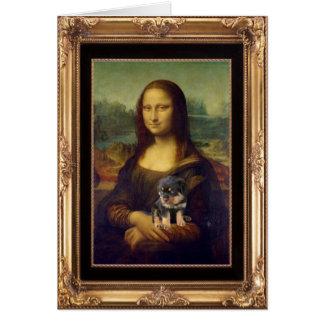 Cartão Mona Lisa e seu Rottweiler