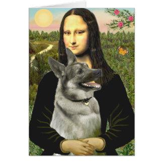 Cartão Mona Lisa - norueguês Elkhound