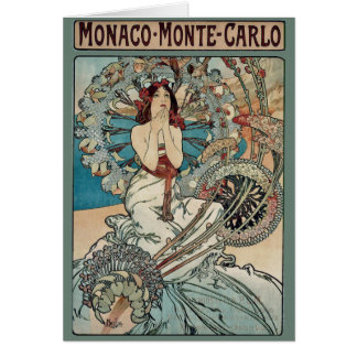 Cartão ~ Monaco Monte de Alphonse Mucha - arte Nouveau de