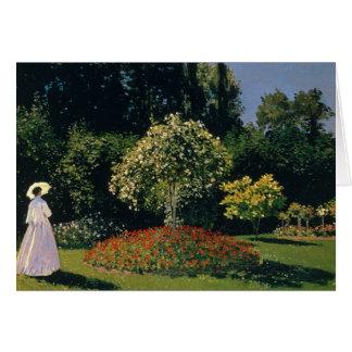 Cartão Monet: Mulher em um jardim