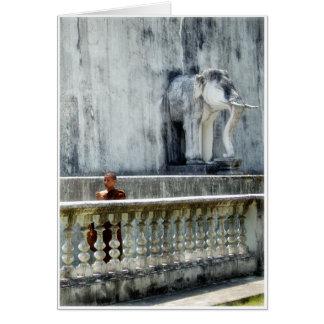 Cartão Monge & elefante
