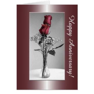 Cartão Monochrome e aniversário feliz da foto   das rosas