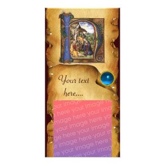 Cartão Monograma azul da safira do PERGAMINHO da