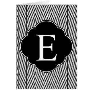 Cartão Monograma branco preto de Herringbone