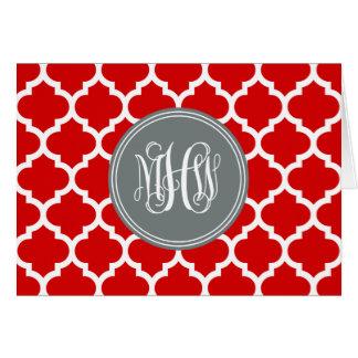 Cartão Monograma branco vermelho da videira de Init do