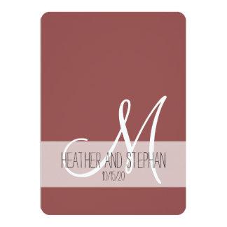 Cartão Monograma branco vermelho simples e elegante de