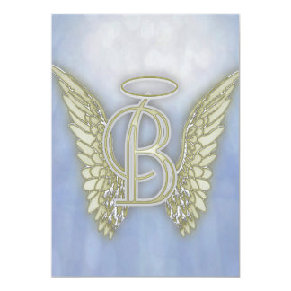 Cartão Monograma do anjo da letra B