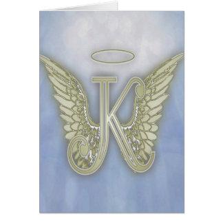 Cartão Monograma do anjo da letra K