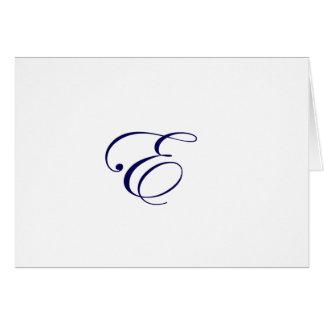 Cartão Monograma E dos azuis marinhos