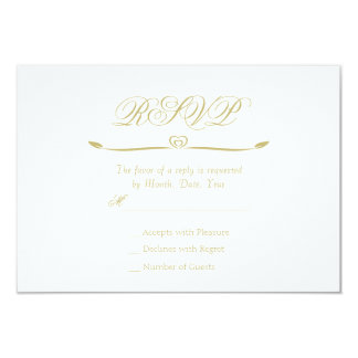 Cartão Monograma elegante RSVP do branco e do ouro