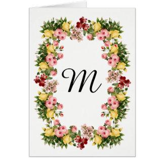 Cartão Monograma floral
