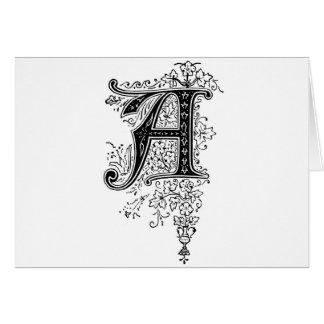 Cartão Monograma preto do vintage redemoinhos florais