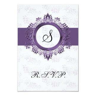 Cartão monograma roxo que wedding o padrão 3,5 x 5 de