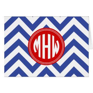Cartão Monograma vermelho branco azul do círculo 3I do