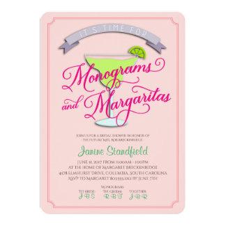Cartão Monogramas & chá de panela dos Margaritas