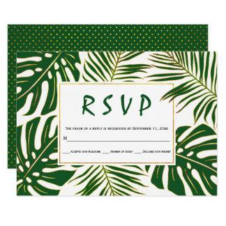 Cartão Monstera tropical, folhas de palmeira RSVP wedding