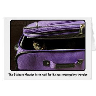 Cartão Monstro da mala de viagem do gato da concha de