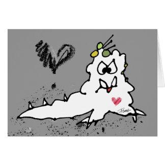 Cartão Monstro do Slug do amor dos desenhos animados