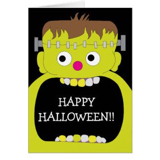 Cartão Monstro feliz do Dia das Bruxas Frankenstein