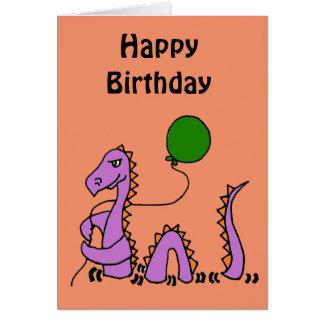 Cartão Monstro roxo engraçado de Loch Ness com balão