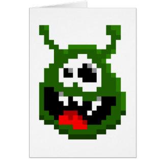 Cartão Monstro verde - arte do pixel