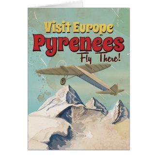 Cartão Montanhas de Pyrenees, poster das viagens vintage