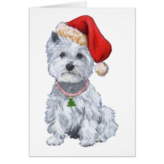 Cartão Montanhas Terrier branco ocidentais Papai Noel