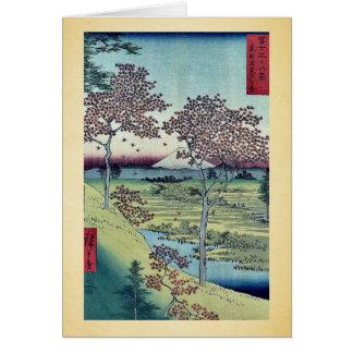 Cartão Monte do por do sol por Ando, Hiroshige