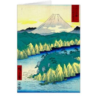 Cartão Monte Fuji do lago 1858 Hakone