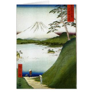 Cartão Monte Fuji visto de um lago Hiroshige 1858