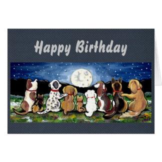 Cartão Moon os cães personalizados aniversário/todo o