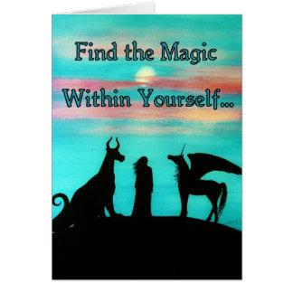 """Cartão MoonMyth """"encontra a mágica dentro do senhor mesmo"""