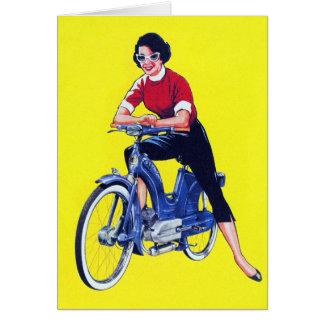 Cartão Moped galão da motocicleta das mulheres do 50 do