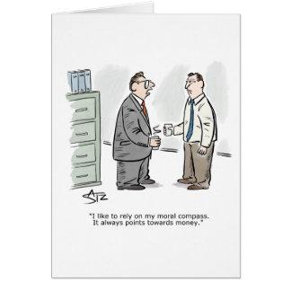 Cartão moral dos parabéns do compasso do negócio