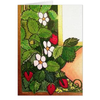 Cartão Morangos adiantadas do primavera