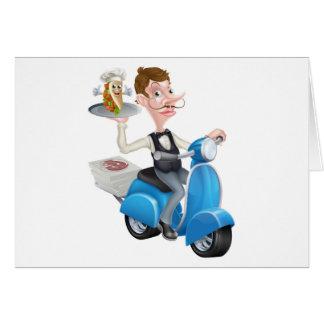 Cartão Mordomo dos desenhos animados no Moped do patinete