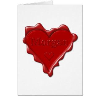 Cartão Morgan. Selo vermelho da cera do coração com