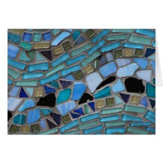 Cartão Mosaico azul do vidro do mar