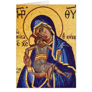 Cartão Mosaico Madonna & ícone da criança, vazio para