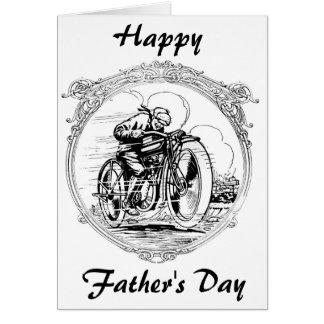 Cartão Motocicleta do dia dos pais do vintage