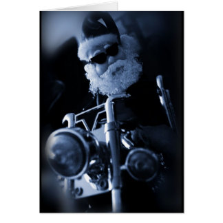 Cartão motocicleta do papai noel