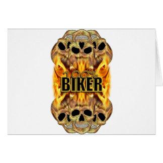 Cartão Motociclista 100% flamejante dos crânios