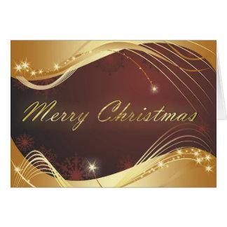Cartão Motriz dourado do Natal com fundo vermelho…
