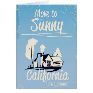 Cartão Mova-se para o poster vintage ensolarado de