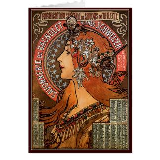 Cartão Mucha - arte Nouveau