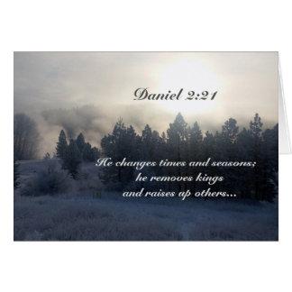 Cartão Muda épocas e estações, bíblia do 2:21 de Daniel