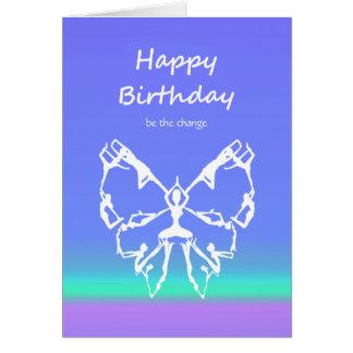 Cartão Mudança da borboleta das poses da ioga do feliz