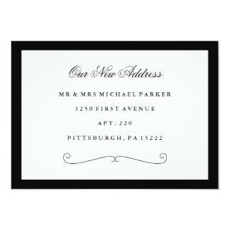 Cartão Mudança de endereço preto e branco elegante