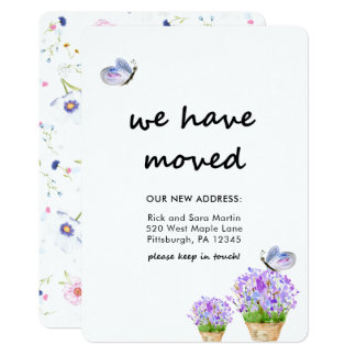 Cartão Mudança de floral rústico de endereço com